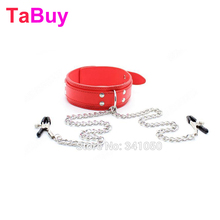 Buy Tabuy Slave Collar & Nipple Clamps Leather Necklace Bdsm Adult Games Sex Products Woman Bondage Erotic Sex Toys Couples