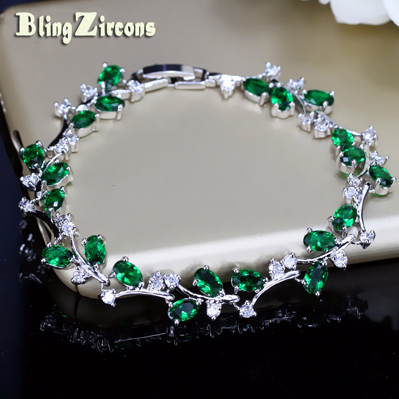 BlingZircons Lovely Oval Round Cubic Zircon Crystal Silver Color Royal Jewellry Green CZ Stone Tennis Bracelets Women B015