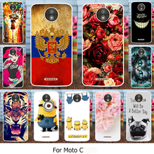 Silicone Covers Cases For Motorola Moto C XT1755 5.0 inch Case Soft TPU Painted Mobile Phone Cover Flowers Rose Cats Housing