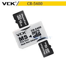 VCK High Quality Dual Micro SD TF to Memory Stick MS Pro Duo Adapter CR-5400 CR5400(China)