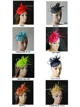 New colour.Feather sinamay Hat Fascinator for Melbourne cup,Ascot Races,kentucky derby wedding party .wheat,neon yellow,rusty.