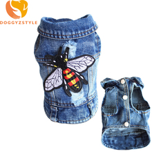 Denim Pet Dog Vest Clothes Hole Embroidered Cowboy Puppy Cat Jacket Clothing Animal Design Jean Coat For Small Dogs DOGGYZSTYL 9(China)