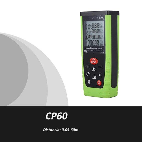 Trena Metro laser ultrasonico Medidor Metro Distancia Laser 0.05-60m Medidor volumen laser Cinta Metrica CP60 laser de mesure<br>