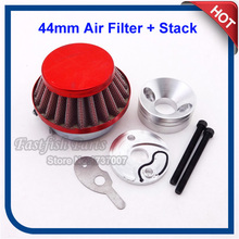 44mm Air Filter + Adapter Velocity Stack Aluminum For 33cc 43cc 49cc Big Foot Gas Scooter Motorcycle(China)