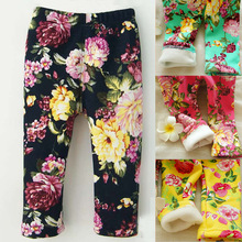 0-2 Years Winter Baby Girls Leggings Floral Print Casual Thick Pants for Kids clothing Cotton Warm Children's Trousers(China)
