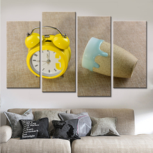 New 4 Piece Alarm Clock Canvas Picture for Living Room  Posters and Prints Modern Nordic Home Decor Wall Art No Frame