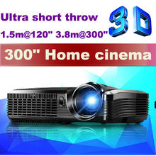 Brightest !! Portable 300inch 1080P Real 3D Multimedia Short Throw Advertising DLP Projector with 5500lumens Fish-eye Lens