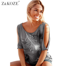 Z&KOZE T-Shirt Women Off Shoulder Feather Print Short Sleeve Summer Top Jumper T Shirt Feminina Women Tops Tee Shirts Femme
