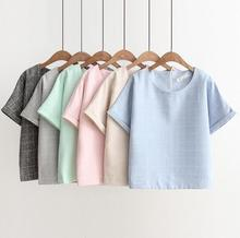 Summer Grid Loose Casual female T-Shirt Green Blue Pink Women's Tops Bat Style Big Size   Short Sleeve Tees F194