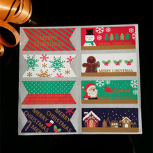 10page/lot (80pcs) Christmas square stickers Santa Claus adhesive sticker Candy box gift card decoration New Year party supplies