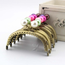 KISSDIY 20pcs Wholesale 8.5 CM Pearl head Kiss Clasp antique Bronze arc Metal Coining Pattern Purse Frame DIY Bag  Accessories