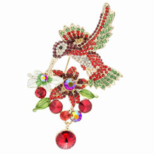 "3.5"" Vintage Red Hummingbird Bird Brooch Pins with Rhinestone Crystals Flower Brooches for Woman Free Shipping 6385"