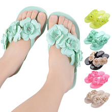 Summer Sweet Girls Slippers Camellia Women Beach Flip Flops Flat Rhinestone Flowers Flip Flops Beach Slippers High Quali BS88