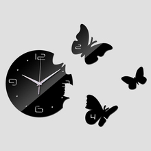 top fashion diy sticker home decoration acrylic mirror surface stickers modern design furniture clocks butterfly pattern(China)