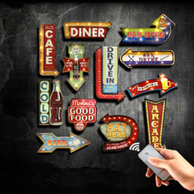 Hot Coffee Cafe Led Metal Plaque Bar Open Dinner Drink Beer Food Wall Decor Painting Illuminated Plate Arcade Neon Signs YN082(China)