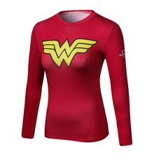 Buy Ladies Comics Marvel Superman Captain America Wonder Women's Compression Shirts Long sleeve T Shirt Female Fitness Tights Shirts for $6.85 in AliExpress store