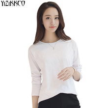 Women T-Shirt 2017 Summer New Fashion Solid Cotton T-Shirts High Quality Long Sleeves Soft Tee Shirt O-Neck Vetement Femme TS017