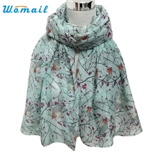Womail Good Deal New Women Lady Spring Fresh Soft Long Cute Bird Print Scarf Wraps Shawl Soft Scarves Gift 1PC
