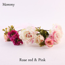 New High Quality Women's Bohemian Peony Floral Headbands Party Wedding hairstyle Hair Wreaths Hair Band Ornaments Beach Wrape
