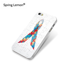Autism Awareness Puzzle Printed Grosgrain Ribbon Hard Cell Phone Case For iPhone 4 4s 5 5s 5c SE