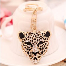 Cool Crystal Leopard Head Animal Keychain Rhinestone Metal jaguar Key Chains Ring Holder Purse Charm Jewelry Accessory YH021