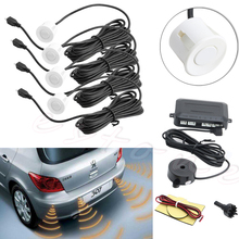 4 Parking Sensors Buzzer Car Reverse Backup Rear Radar System Sound Alarm White