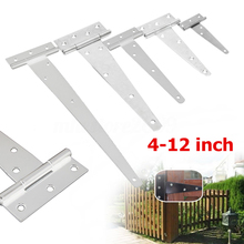 "Mayitr 4''/6''/8''/10''/12"" Iron Door Hinges Heavy Shed Door Garden Wooden Gate T Hinge for Furniture Hinge"