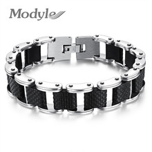 Modyle Square Genuine Sillcone Mens Bracelet Stainless Steel Motorcycle Biker Chain Design Casual Style Double Safety Claspes