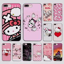 New cute Hello kitty design hard black Case Cover for Apple iPhone 7 6 6s Plus SE 5 5s 5c 4 4s