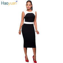 HAOYUAN Summer Party Dresses Black White Patchwork Sleeveless Elegant Plus Size Sexy Dress Club Wear Clothing Vestidos Mujer
