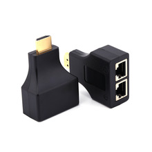 Black Color for HD-DVD for PS3 HDMI To Dual Port RJ45 Network Cable Extender Adapter Over by Cat 5e / 6 1080p