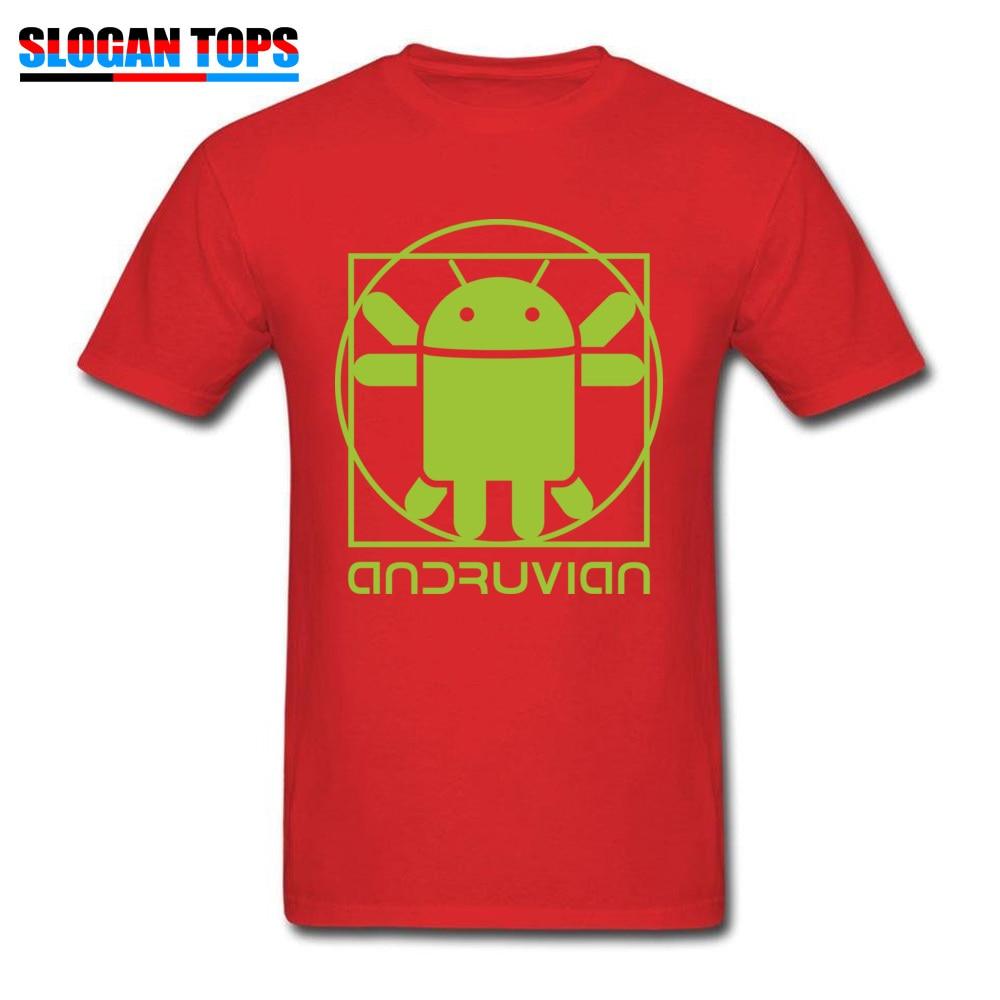 Vitruvian Droid green Men Funny Gift Tops & Tees O-Neck Summer Cotton T Shirts Summer Short Sleeve Tee Shirt Free Shipping Vitruvian Droid green red