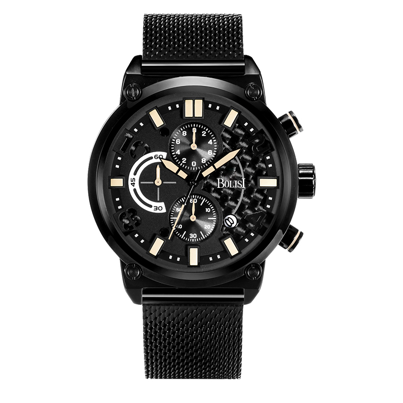BOLISI  Business Mens Chronograph Quartz Watches  Metal Steel Watch Strap With Date Display &amp; <br>