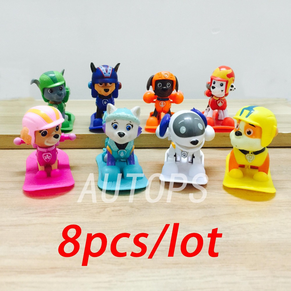 ATOY 8pcs/lot Skis Patrol Dog Anime Toys Action Figure Dog Spain Kid Toy Puppy Patrol Patrulla Canina Toys For Child Gift<br><br>Aliexpress