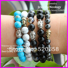 Wholesale! High quality fashion metal Buddha Bracelet, Turquose, Black Onyx,Glass bead Semi Precious stone men's bracelet