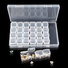 28 Slots Transparent Plastic Nail Art Storage Box Display Case Organizer Holder For Rhinestone Beads Cosmetic Jewelry Decoration(China)