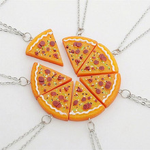7 Pieces Set Pizza Best Friend Pendants Orange Resin Chain Statement Necklaces For Children Brother Collares Friendship Schmuck