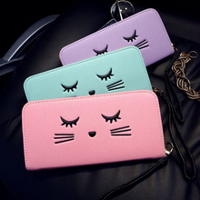 DUDINI Candy Color Women PU Leather Wallet Cute Cat Cross Pattern Money Wallet Long Zip Lady Fashion Coin Purse Card & ID Holder
