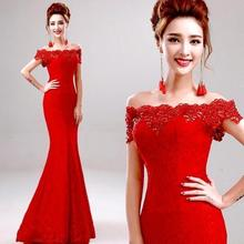 Hot Selling Elegant Off The Shoulder Cheap Price Mermaid Red Lace Long Bridesmaid Dresses 2017 Floor Length Wedding Party Gowns