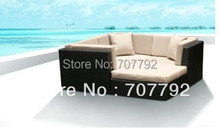 New!All Weather PE Resin 4pc Patio Deep Seating Lounge Sectional Sofa Set(China)