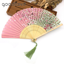 Free Shipping 1pcs New Arrival High Quality Charming Floral Print Pocket Fan Bamboo Silk Hand Fan Xmas Christmas Gift Kraft(China)