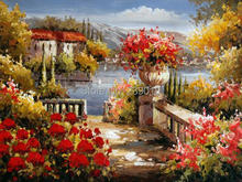 Free Shipping flowers scenery canvas prints Oil Painting wall art decoration picture Mediterranean Painting printed on canvas