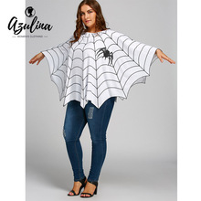 AZULINA Halloween Spider Web Printed Plus Size Poncho Blouse 2017 New Blouse Ladies' Loose Casual Pullovers Female Fashion Tops(China)