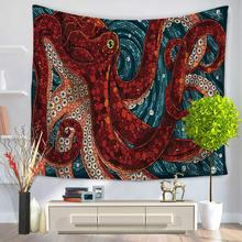 CHARMHOME Mediterranean Octopu Pattern Tapestry Polyester Fabric Wall Hanging Tapestry for Bedroom Living Room Dorm Accessories