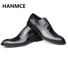 HOT Sale NEW Design Fashion Men Genuine Leather shoes High Quality Wedding Evening Party shoes business Dress men Oxfords shoes(China)