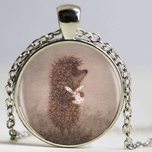 Hedgehog In The Fog Silver Pendant Necklace Long Chian Statement Handmade Fashion Necklace For Women