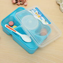 White/Blue Useful Lunch Box Divided Food Storage Container Freeze Store Microwave SAFE + Spoon