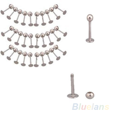 Hot 10PCS Stainless Steel Tragus Ball Labret Lip Chin Ring Bar Body Piercing Studs  7G45 BDOS