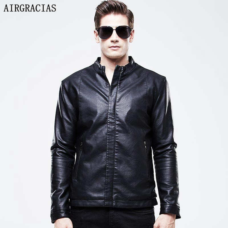 AIRGRACIAS Business Fashion Casual Men Leather Jac...