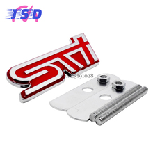 Car Styling Metal Auto Front Grille Emblem 3D Sticker Badge for STI Logo for Subaru STI XV Impreza Legacy Outback Forester WRX(China)
